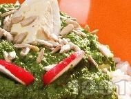 Рецепта Предястие пюре от спанак, ориз и варено яйце